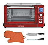 "Cuisinart Deluxe Convection Toaster Oven Broiler (Red) with 7"" Santoku Knife and 8"" Bread Knife with Oven Mitt"