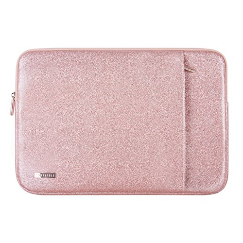 Comfyable Laptop Sleeve for MacBook Pro 13-13.3 Inch & Mac Air 13-13.3'', Notebook Computer Case w/Pocket- Waterproof & Soft Cover- Rose Gold Pink Glitter by Comfyable (Image #7)