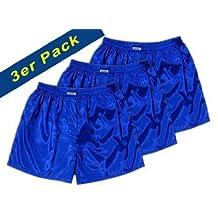Blue Thai Silk Boxer Shorts Underwear Men Sleepwear Pack of 3 Size S, M, L, XL