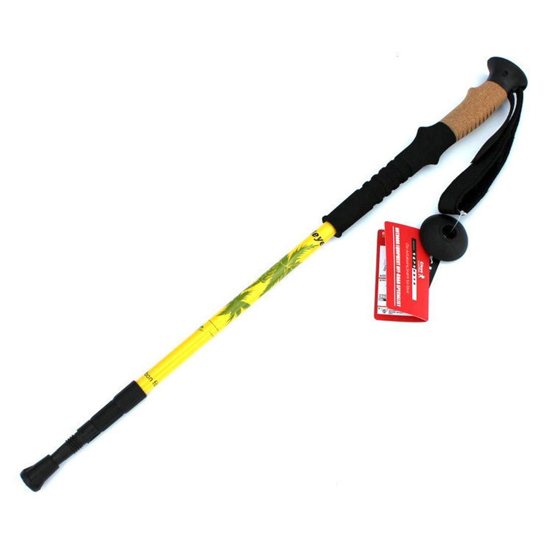 FELICIAAA アルペンストック軽量屋外スポーツ伸縮ハイキングカーボン三つ折りフォークウォーキングスティックアウトドアクライマー (Color : イエロー, サイズ : 135cm) イエロー 135cm