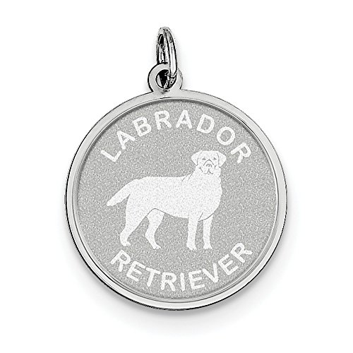 Sterling Silver Solid Faceted Engravable Laser Etched Labrador Retrieve Disc Charm