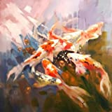 'Carps' oil painting, 18x18 inch / 46x46 cm ,printed on Perfect effect Canvas ,this High quality Art Decorative Canvas Prints is perfectly suitalbe for Hallway artwork and Home decoration and Gifts