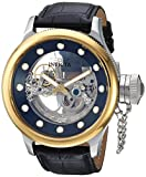 Invicta Men's 'Russian Diver' Automatic Stainless Steel and Leather Casual Watch, Color:Black (Model: 24594)