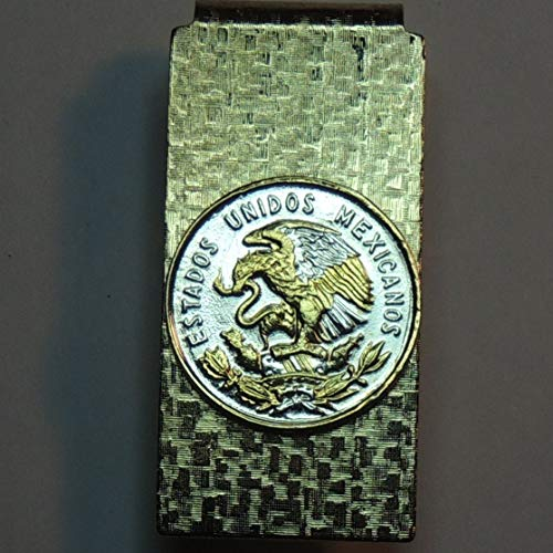 Mexican Eagle - Gorgeously 2-Toned (Uniquely hand done) Gold & Silver coin (Hinged) Money clips for men for dad Christmas groomsmen birthday for him for women Coin Hinged Money Clips