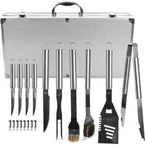 Barbacoa Grill Kit de herramientas, 19piezas, acero inoxidable con funda de transporte por Chef Buddy