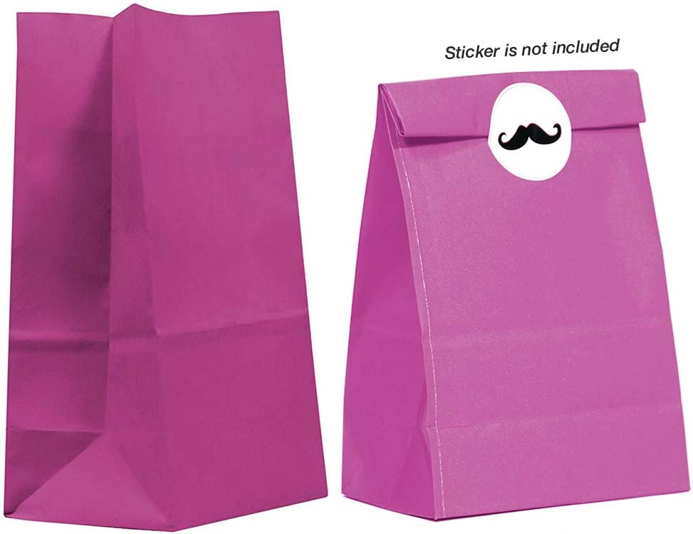 40CT Biodegradable, Food Safe Ink & Paper, Premium Quality Paper (Thicker), Paper Bag, Kraft Paper Sack, Goody Bags, Treat Sacks, Perfect for Party Filled with Small Favors (Medium, Magenta)
