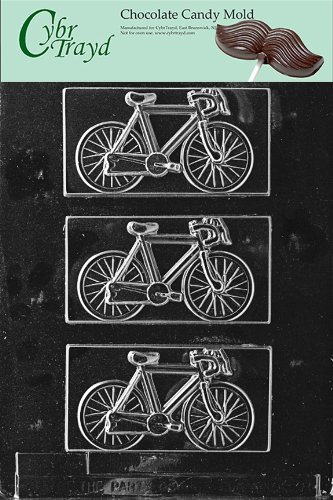 Cybrtrayd K038 Bicycle Chocolate Candy Mold with Exclusive Cybrtrayd Copyrighted Chocolate Molding Instructions
