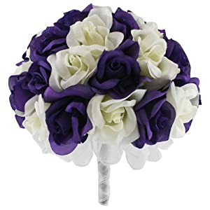 Purple and Ivory Silk Rose Hand Tie (36 Roses) - Artificial Silk Bridal Wedding Bouquet 31