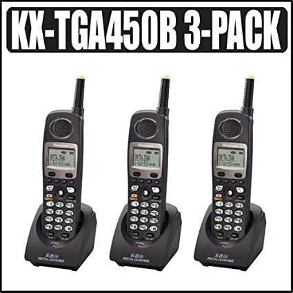 amazon com panasonic kx tga450b 4 line 5 8 ghz fhss handset 3 pack rh amazon com Cordless Phone Sets Panasonic 2-Line Cordless Phone
