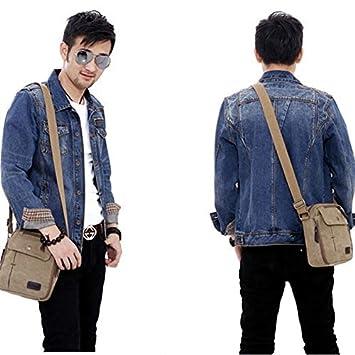 hainan Mens Vintage Canvas Multifunction Travel Satchel Messenger Shoulder Bag Grey one Size