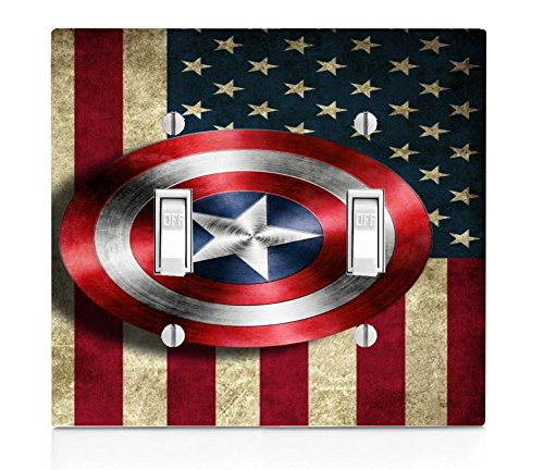 Old Style American Flag With Captain America Shield Design Print Image Double Light Switch Plate
