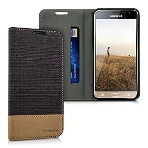 kwmobile Funda compatible con Samsung Galaxy J3 (2016) DUOS-Carcasa de tela y cuero sintético con soporte en antracita / marrón