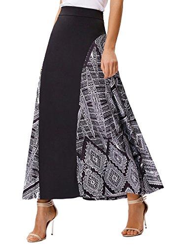 Women Elegant Soft High Waist Venetian Milk Silk Print A-Line Long Skirt Size L 429-2 (Long Skirts Winter)