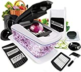 Food Cutter, Fun Life 8 in 1 Vegetable and Onion Choppers, Mandolin Slicer and Food Dicer, Multifunctional Cutter, Includes Mandoline, Julienne, Spiral and Ribbon Slicer