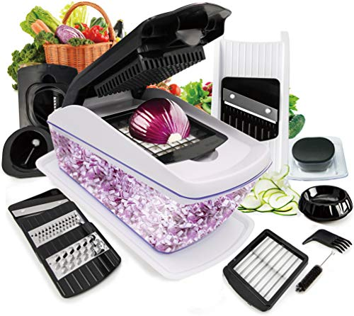 vegetable chopper Fun Life onion chopper Dicer Food Chopper Pro Cuber Cutter, Cheese Grater Multi Blades for Onion Potato Tomato Fruit Extra Peeler Included