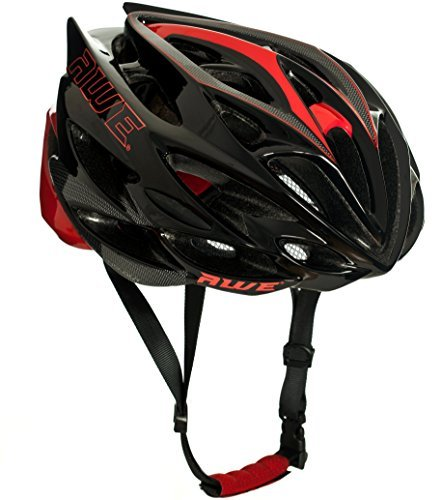 AWE-AWESpeed-FREE-5-YEAR-CRASH-REPLACEMENT-In-Mould-Adult-Mens-Road-Cycling-Helmet-58-61cm-Black-Red-Carbon-US-CPSC-Standards-16-CFR-1203-Safety-Tested