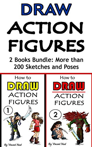Draw Action Figures: Action Figure Drawing 2 Book Bundle: More than 200 Sketches of Action Figures and Action Poses (Drawing Action Figures, Draw Action Figures Book, How Draw Acti