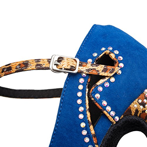 Minishion Womens Th180 Peep Toe Kristallen Suède Bruiloft Balzaal Latin Taogo Dans Sandalen Blauw