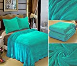 """Super Silk Soft Solid Diamond Blanket, Turquoise Blue Teal Throw Reversible , 3 Lbs 100% Polyester Queen Size 82""""*92"""""""