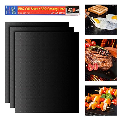 BBQ Grill Mat, Easest Set of 3 Pieces (13x15.75x0.1 Inch) Non stick Extra Thick Grill Sheets Healthy Reusable Barbecue Accessories Toast Bake Cooking Liner Microwave Dishwasher safe (3 Pack Black) (Toast Oven Grill compare prices)