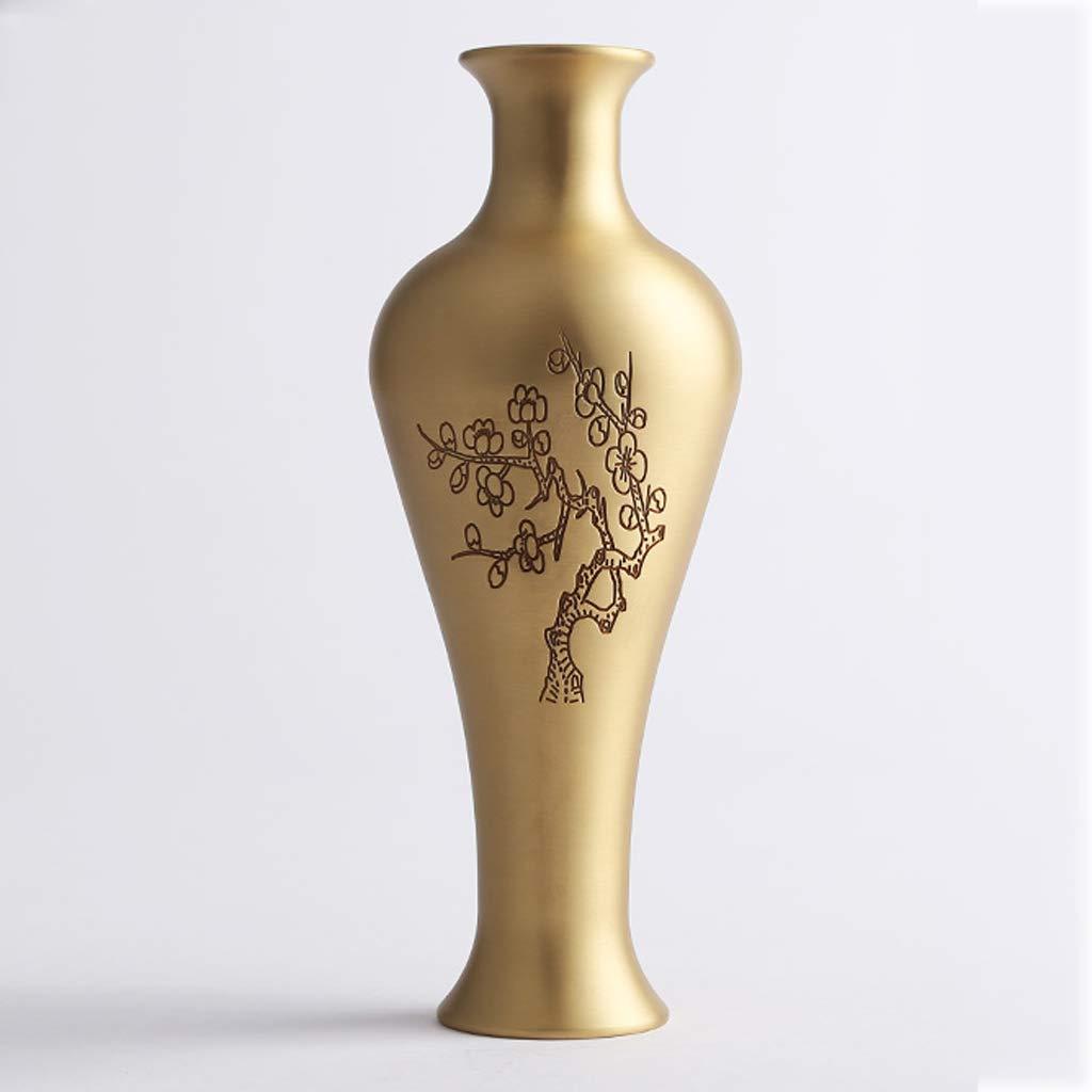 シックな花瓶 Jiale Copper Vaseホームデコレーションリビングルーム花瓶モダンフラワーデコレーション(サイズ:2.95×7.87インチ) 写真シックな花瓶シリンダー花瓶、装飾用花瓶 B07SC1PKY3