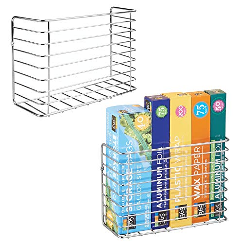 (mDesign Wall & Cabinet Door Mount Kitchen Storage Organizer Basket Rack - Mount to Walls and Cabinet Doors in Kitchen, Pantry, and Under Sink - Pack of 2, Solid Steel Wire with Chrome Finish)