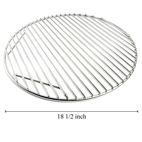 Onlyfire Stainless Steel Round Grid Hinged Cooking Grate Replacement for Large Big Green Egg Kamado Joe Classic Char-Griller Barbecue Ceramic Grill and Smoker, 18 1/2 Inches