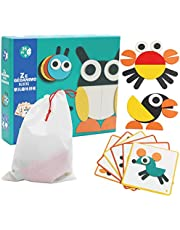 BEESCLOVER Wooden Animal Shape Tangram Puzzle Board Educational Toy for Kids Fun Puzzle