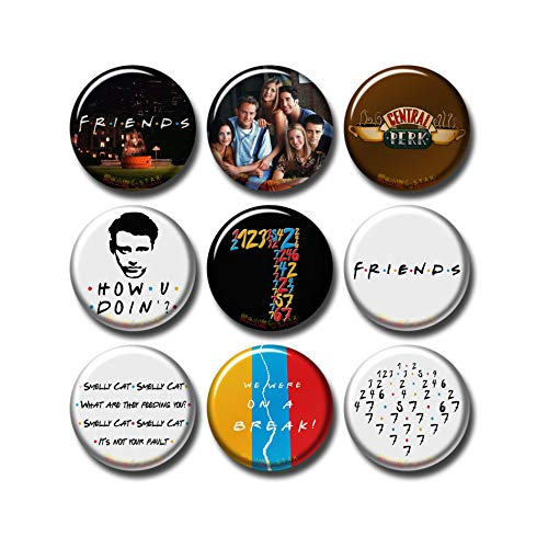 Pentagonwork Friends 9 pcs Button Fridge Magnets Set Pack TV Series 494-P009 Smelly Cat Monica 7 Seven,Home Kitchen Refrigerator Decor Gifts (Round 1.5 inch|3.7cm)