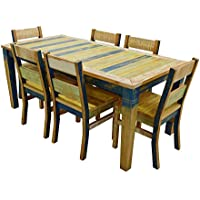 Reclaimed Dining Set: 1 71 Table + 6 Chairs Solid Wood Distressed Color