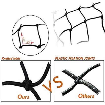 47 x 36 Latex Bungee Cargo Net with 12 Adjustable Hooks Stretches to approx 70 x 52 Heavy Duty Truck Bed Net Auto Roof Tie-Down Net Comtops