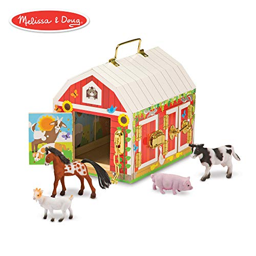 (Melissa & Doug Latches Barn Toy (Developmental Toy, Helps Improve Fine Motor Skills, Painted Wood Barn, 10.5