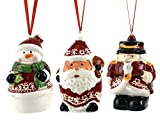 Special T Imports Holiday Santa, Snowman & Nutcracker Hanging Christmas Ornaments - Set of 3