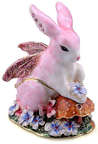 Crystal Trinket Gold Plated Silver (Treasures Jewelled Rabbit Fairy enameled trinket box)