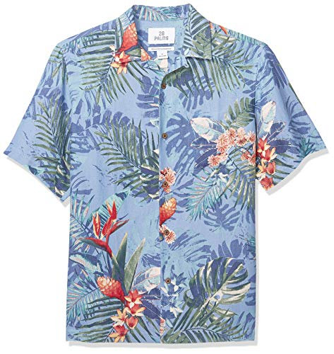 28 Palms Men's Relaxed-Fit Silk/Linen Tropical Hawaiian Shirt, Blue Bird of Paradise, Small