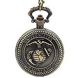Steampunk United State Marine Corps Retro Quartz Pocket Watch Necklace Chain Mens Womens Pendant Clock