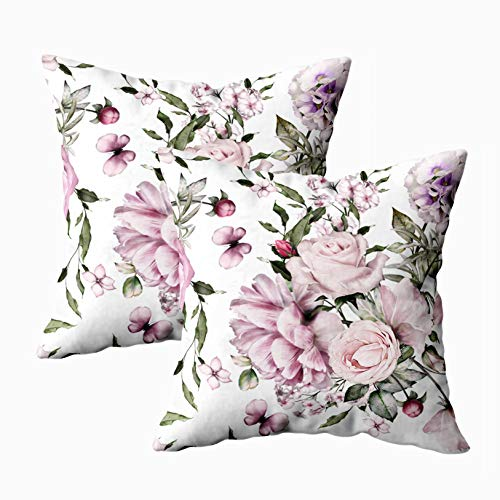 - Musesh Pillow Covers, Pack of 2 Pattern with Flowers and Exotic Leaves Background Floral Fabric Flower Rose Peonies Botanic Tile Wallpaper for Sofa Decorative Pillowcase 18X18Inch Pillow Covers