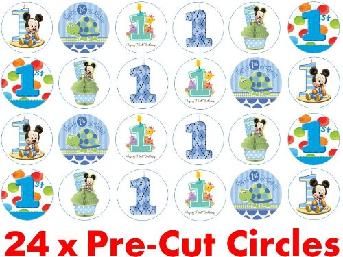 24 X 38mm Pre Cut Circle Blue Happy 1st First Birthday Boy Fairy Muffin Cup Cake Toppers Decoration Edible Rice Wafer Paper Amazoncouk Kitchen Home