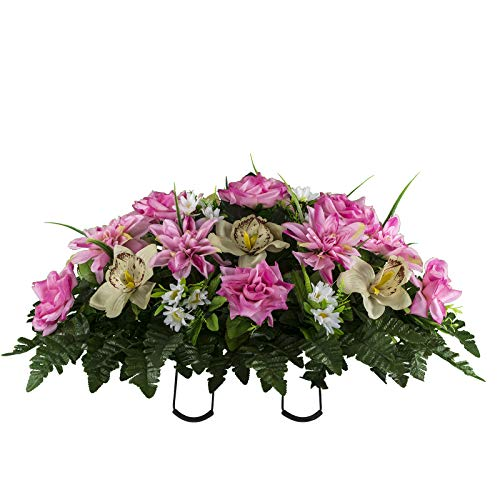 Sympathy Silks Artificial Cemetery Flowers - Realistic Elegant Orchids, Outdoor Grave Decorations - Non-Bleed Colors, and Easy Fit - Pink Almond Orchids Saddle