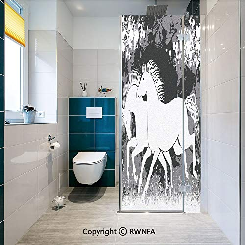 Window Films Privacy Glass Sticker Antique Roman Time Gladiator Two Race Horses with Paint Marks Image Static Decorative Heat Control Anti UV 23.6In by 47.2In,Black White Grey