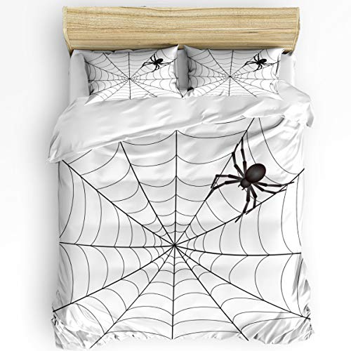 3 Piece Bedding Set Full, Black and White Spider Web Duvet Cover Set for Girls Boys Children Adult, Ultra Soft and Easy Care Sheet Quilt Sets with Decorative Pillow -