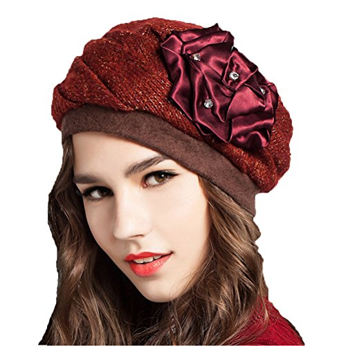 "Maitoseâ""¢ Women's Decorative Flowers Wool Beret Red"