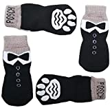 Posch Long Anti-Slip Knit Socks for Pets with Traction Soles for Indoor Wear. Slip On Paw Protectors for Small and Medium Breed Dogs. (S, Tuxedo)