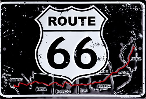 Retro Vintage Black/white Route 66 Metal Sign