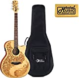 Luna Henna Acoustic/Electric Guitar w/ Case, Laser Etched Henna, HEN 02 SPR