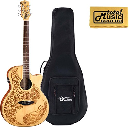 Luna Henna Acoustic/Electric Guitar w/ Case, Laser Etched Henna, HEN 02 (Luna Guitars Henna Oasis)