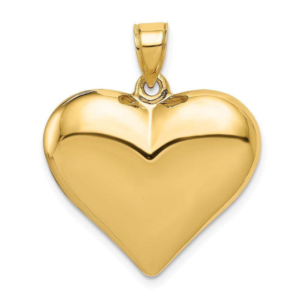 14k Puffed Heart Pendant Length 25 Width 22