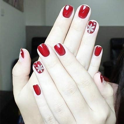 Pack de 24 uñas postizas Mimei, rojas y blancas con ...