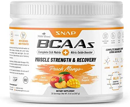 Snap Supplements BCAA Powder with Nitric Oxide Booster – Peach Mango Essential Amino Acids – Muscle Strength Recovery Post Workout Drink for Men Women – 30 Servings