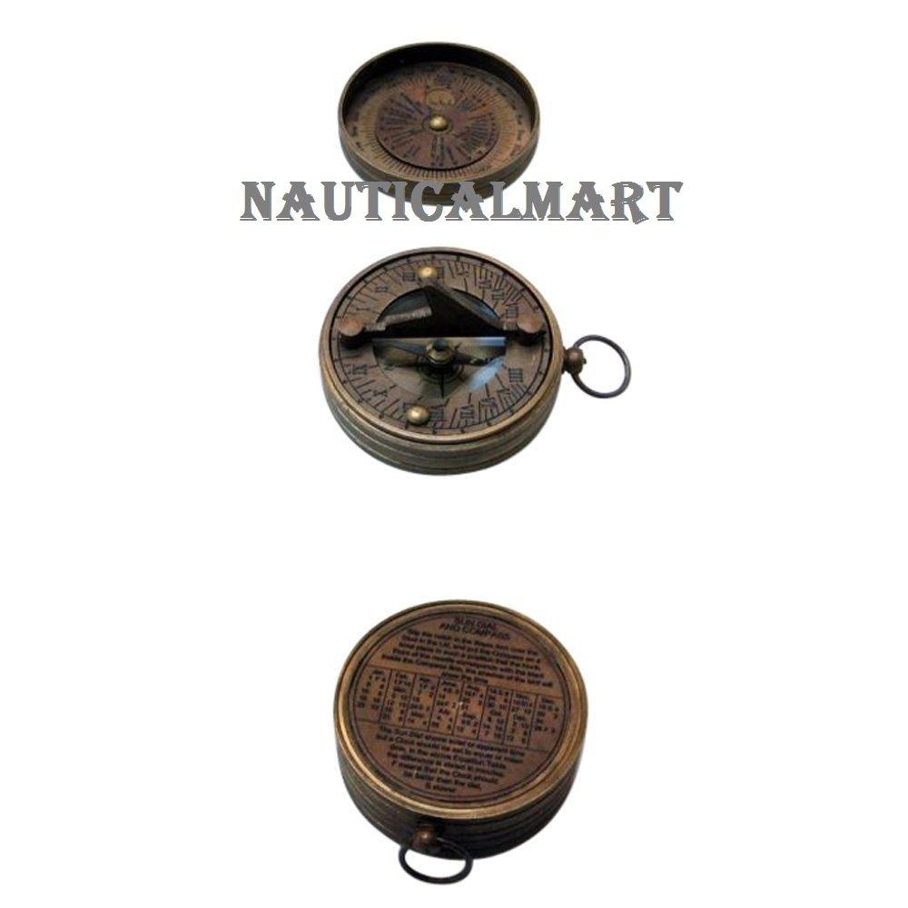 NAUTICALMARTポケット日時計コンパスW /蓋アウトドアキャンプギア B01JLGAUCQ